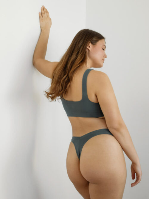 Teal green underwear top with square necklet