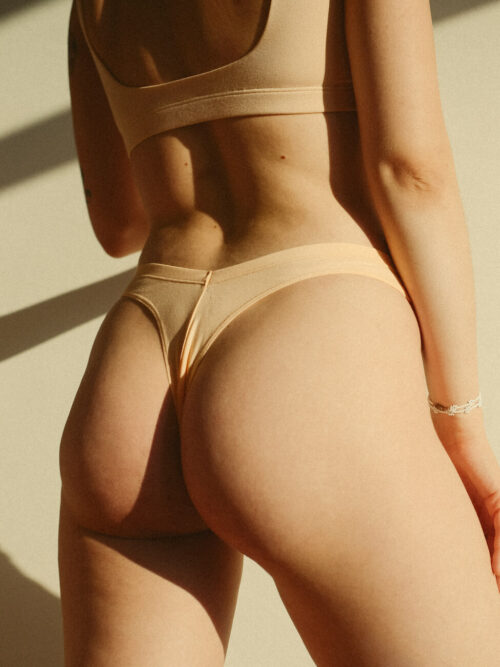 V-shape cotton thongs duo in grey and apricot colors