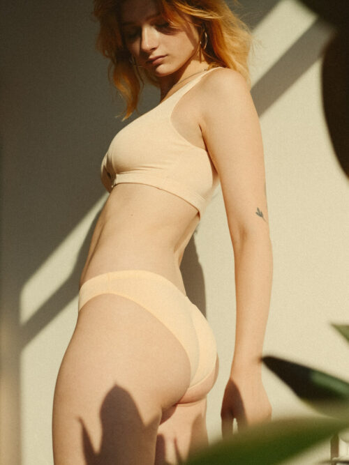 V-shape cotton bikinis duo in grey and apricot colors